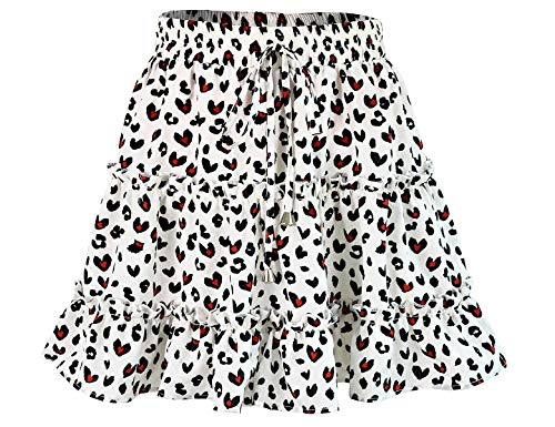 Bbonlinedress Damen Rock Röcke Sommerrock Minirock Kurz Röcke Skirts im Sommer A-White Leopard XL