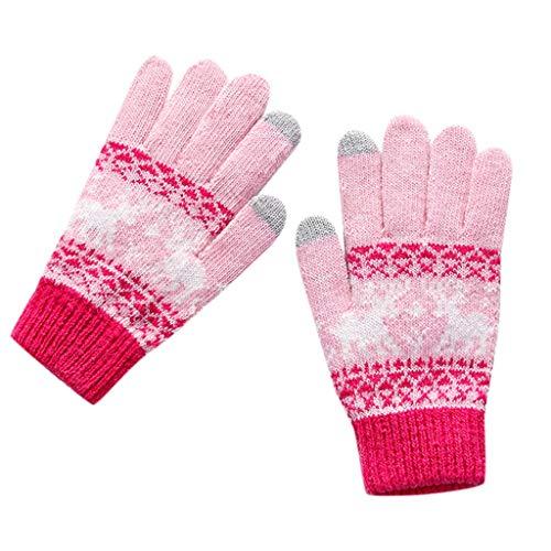 Women's Christmas Gloves,Jushye Fashion Girls Knit Wool Women Girl Snowflake Winter Keep Warm Mittens Gloves (Pink)