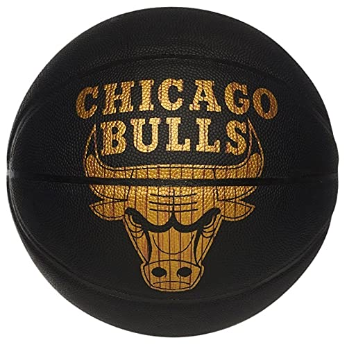 Uhlsport NBA Hardwood Series Bulls 76-604Z - Pelotas de Baloncesto, Color Negro y Dorado