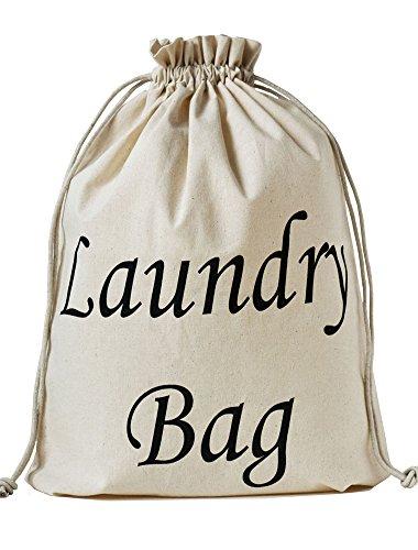 5 Wäschebeutel mit aufgedrucktem Laundry Bag Schriftzug, Grösse 43x34 cm mit Kordel zum Zuziehen, 100% Baumwolle, Wäschesack zum Reisen
