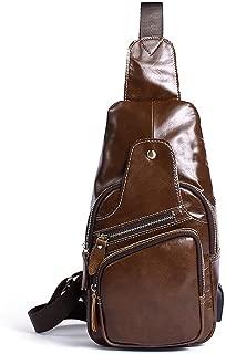 Lcxliga Genuine Leather Men Chest Bag Retro Crossbody Bag Shoulder Bags Carry Bag Multipurpose Triangle Pack Rucksack (Color : Brown)