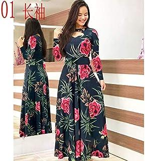 Elegant autumn Women's Dress 2020 Casual Bohemia Flower Print Maxi Dresses Fashion Hollow Out Tunic Dress Plus Size 5XL brand:TONWIN (Color : A long, Size : 5XL)