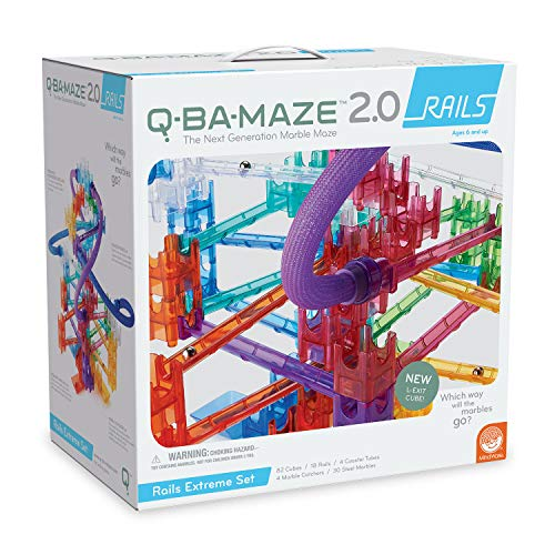MindWare Q-BA-Maze Marble Run Building Set: 138+ Rails Extreme Set