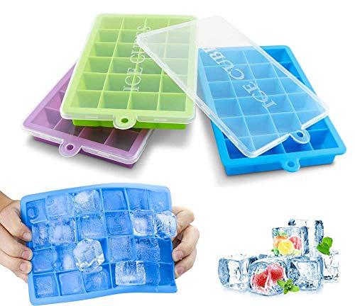 Jooheli Eiswürfelform,3 Stück Eiswürfelformen,Eiswürfel Form Silikon Eiswürfelformen mit Deckel Ice Cube Tray,Eiswürfelbehälter Küchenhelfer DIY Kleiner Eiswürfel für Getränke, Whisky, Wein