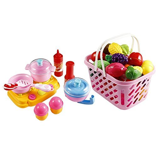 49 PCS Kitchen Toys Fruits Vegetables Pretend Play Food Set Toys for Preschool Kids Toddlers
