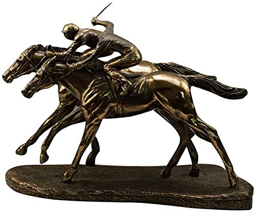JYKFJ Adorno de Estatua de Adornos de Carreras de Caballos, Escultura de estatuilla de Cazador de Jockey Doble, Regalo de decoración de Dormitorio de Escritorio de Oficina en casa, latón