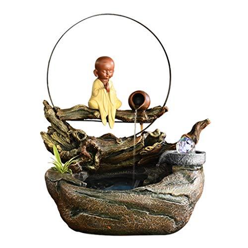 Fuente de Mesa Cascada de meditación Fuente Fuente Buda Zen cubierta de agua de mesa for las estatuas Inicio Arte for la oficina Decoración Crafts Escritorio Adornos de agua Fuente humidificador Fuent