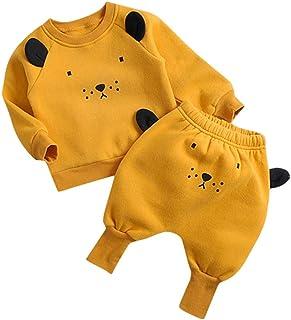 0-3 Años,SO-buts Recién Nacido Infantil Bebés Niños Dibujos Animados Animal Tops Sudadera Fleece Harem Pantalones Conjunto...