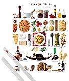 1art1 Cocina Art Print (30x24 cm) Flavours of Italy Y Juego De 2 Varillas Transparentes