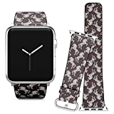 Compatible with Apple Watch (38/40 mm) Series 5, 4, 3, 2, 1 // Leather Replacement Bracelet Strap Wristband + Adapters // Beautiful White Horses