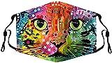 ITVIP WaiMeill Kuh Mundmaske 3d, Waschbar Mundschutz mit Motiv Katze, Mehrweg Atmungsaktiv Stoff Bandana Halstuch Tuch, Mund und Nasenschutz (Multicolor G)