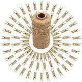 jijAcraft 100pcs Pinzas de Madera Pequeñas Decorativas para Fotos 3,5cm + 100M Cordel Yute para Decoración, Artesanía