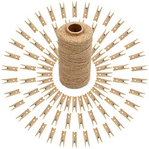 jijAcraft Mini Holz Wäscheklammern, 100 Stück Holzklammern klein für Fotopapier Stöpsel mit 100m Jute-Schnur