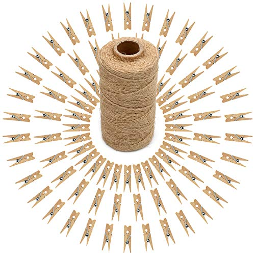 100 Pcs Mini Natural Wooden Clothespins and 328 Feet Jute Twine,Baby Clothes Pins,3.5cm Craft Photo Clips for Home School Arts Crafts Decor
