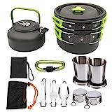 TANGIST Camping Kit de Utensilios de Cocina Al Aire Libre de Aluminio Ligero Camping Pot Pan Set de 9 Piezas para 2-3 Personas Excursión Escalada Senderismo de Cocina para Acampar Yendo de Excursión