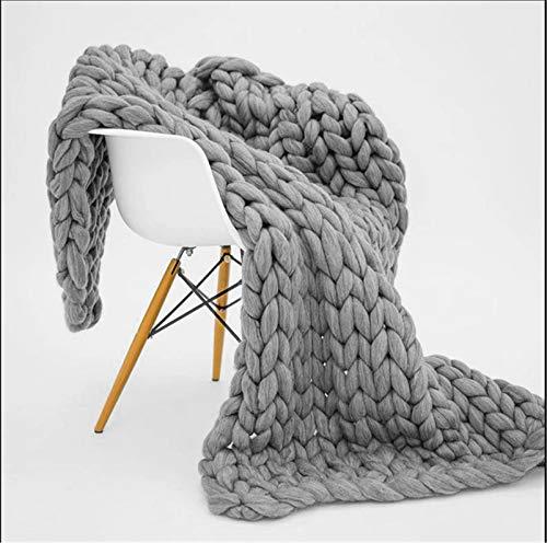 RAILONCH Gestrickte Grobe Strickdecke Wolle Kuscheldecke Grobstrick Wolldecke Strickdecke Tagesdecke Überwurf Decke Zuhause Dekor (Grau,120×180cm)