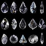 15er Pack Kristall Sonnenfänger, Fenster Sonnenfänger klar Kristall Kronleuchter Kristall Glas Prisma Anhänger Lampen Feng Shui Sonnenfänger Kristall Kristalle Als Dekoration