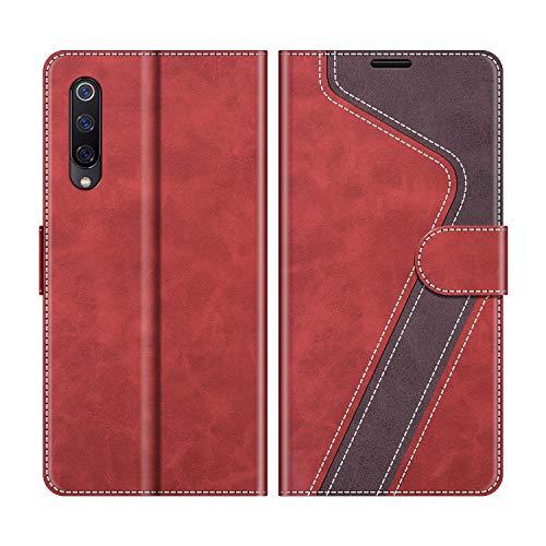 MOBESV Coque pour Xiaomi Mi 9 Se, Housse en Cuir Xiaomi Mi 9 Se, Étui Téléphone Xiaomi Mi 9 Se Magnétique Etui Housse pour Xiaomi Mi 9 Se, Élégant Rouge