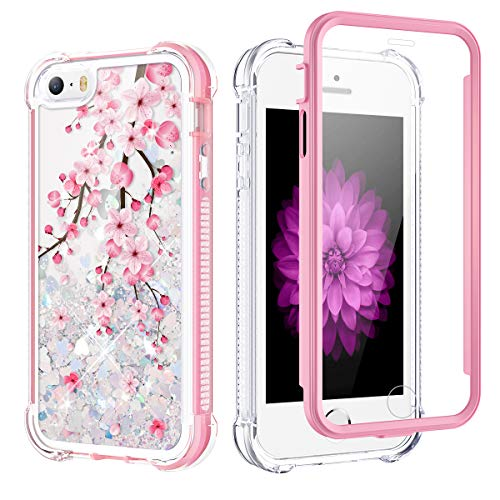 Caka Case for iPhone SE 2016, iPhone 5 5S SE Glitter Case Girly Girls Women Full Body Bling Liquid Sparkle Fashion Flowing Quicksand Shockproof Pink Blossom Case for iPhone 5 5S SE 2016 (Cherry)
