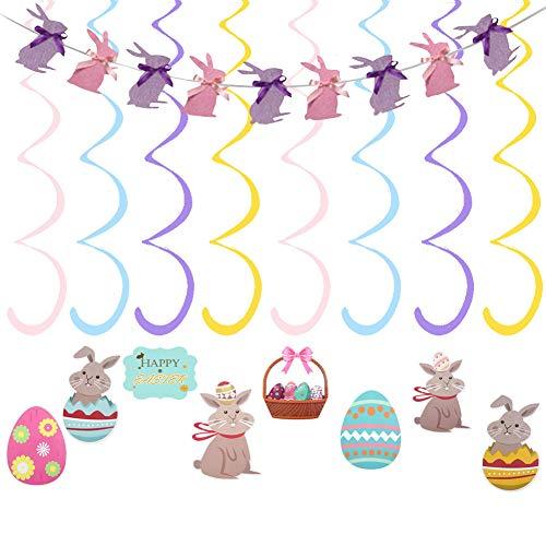 SZWL9pcs Pascua Remolinos Colgantes ,Banner Bunting Conejo de Pascua ,Remolino Colgante Conejito Huevo Pascua para Suministros Adornos de Fiesta Pascua Escuela Oficina,Pascua Guirnalda de Techo