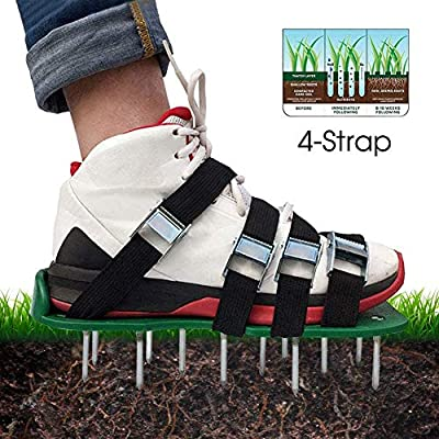 Petilleur Lawn Aerator Shoes, 4 Adjustable Straps Universal Size ?4 Aluminum Alloy Buckles Spiked Aerating Lawn Sandals, 26 Nails for Aerating Your Lawn or Yard
