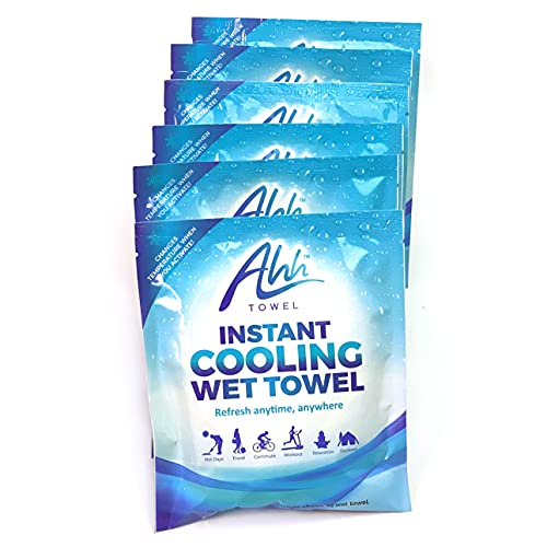 Ahh Towel - Instant Cooling Towel | for Athletes, Sport, Running, Gym, Yoga, Biking, Running, Workout | Activated Ice Pack, Cold Pack (6 Packs)