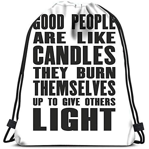jenny-shop Rucksack mit Kordelzug Gute Menschen sind wie Kerzen, die sie Sich verbrennen, um Anderen leichte Reiserucksäcke zu geben