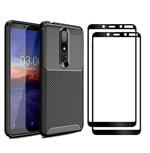 XIFAN Nokia 3.1 Plus Hülle & Bildschirmschutzfolie, [1 Pack] Slim Soft Shockproof Case + [2 Pack] 9H gehärtetes Glas [HD Ultra] für Nokia 3.1 Plus - Schwarz