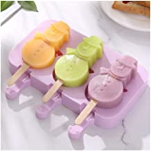 MINGTAI Homemade Food Grade Silicone Ice Cream Molds 2 Size Ice Lolly Moulds Freezer Ice Cream Bar Molds Maker With 50 Pop...