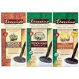 Teeccino Herbal Coffee Variety Pack – Mocha, French Roast, Maca Chocolaté – Chicory Coffee Alternative | Ground Coffee Substitute | Prebiotic | Caffeine Free | Acid Free | 11 ounce (Pack of 3)