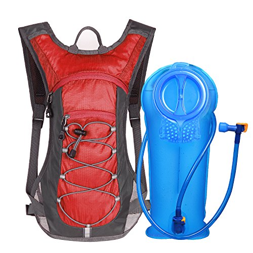 Unigear Hydration Pack Backpack with 70 oz 2L Water Bladder for Running, Hiking, Cycling, Climbing, Camping, Biking (Red)