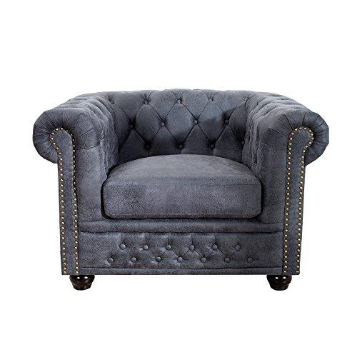 Invicta Interior Edler Chesterfield Sessel Antik Grau mit Knopfheftung Polstersessel Wohnzimmersessel