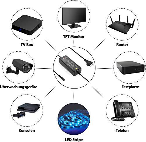 Poppstar Universal Netzteil (6V, 7.5V, 9V, 12V bei 5A) (13.5V, 15V bei 3.8A) (16 V bei 3.5A), Schaltnetzteil mit 8 Adaptersteckern u. LED, Kabellänge 2,5m