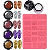 Dan&Dre 4D Escultura Nail Art Mold Set, Nail Art Decoración Kit Impresión Plantilla Nail Beauty Powder y Nail Crystal Gel