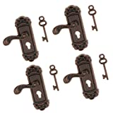 1:12 Miniatura Cerradura de Puerta con Mango de Metal de Color Bronce para Casa de Muñeca - 4pcs Manija Izquierda