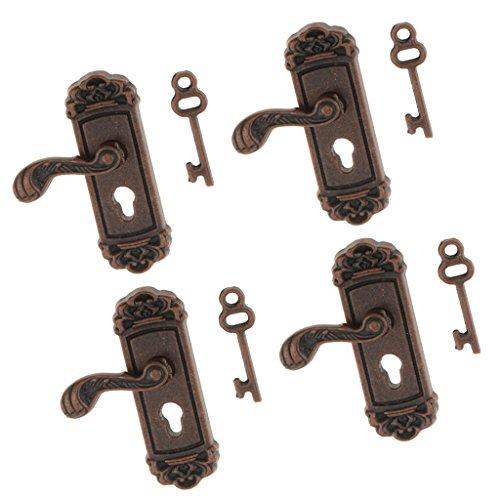 F Fityle 4 Piezas 1:12 Casa de Muñecas Miniatura Vintage Cerradura Puertas con Llave Manija Izquierda Decoración Metal Bronce Real