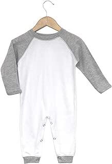 Laughing Giraffe Baby Infant Blank Long Sleeve Jumpsuit Romper Raglan Sleep 'N Play (12-18M, White/Heather Gray)