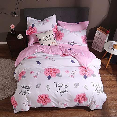 Yaonuli slaapkamerset, gewatteerd, met vier delen, 3-delig, bloemengeluid, zwart, afmetingen 150 x 200 cm, 1,2 bed