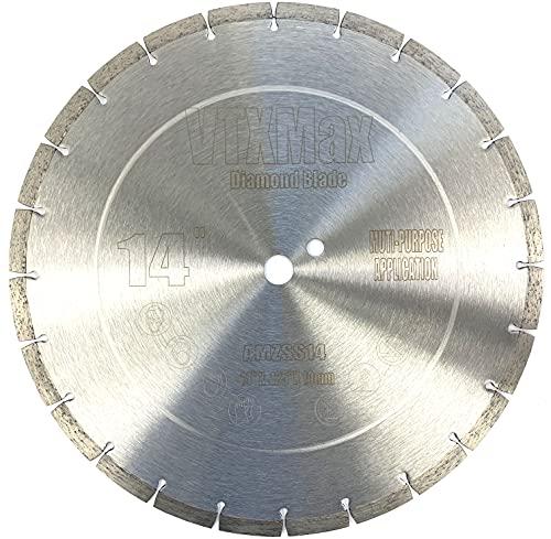 VTXMax VSS 14 inch Dry or Wet Cutting General Purpose Power Saw Segmented Diamond Blades for Concrete Stone Brick Masonry (14')