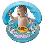 PMFS Baby Sonnenschirm Verdickung Schwimmboot Cartoon Kinder Aufblasbarer Schwimmring Lenkrad Baby SitzringBlau