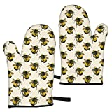 gfhfdjhf Vintage Scientific Bee Entomology Insect Watercolor Painting Oven Gloves,Heat Resistant Non-Slip Kitchen Oven Mitts for Grilling,Cooking,Baking,Kitchen,Microwave,Pizza