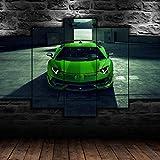 Cuadro de Arte de Pared Modular Lienzo impresión HD decoración del hogar 5 Piezas Cartel de coche deportivo Pintura para Sala de Estar Marco de póster 150 x 80 cm con Marco