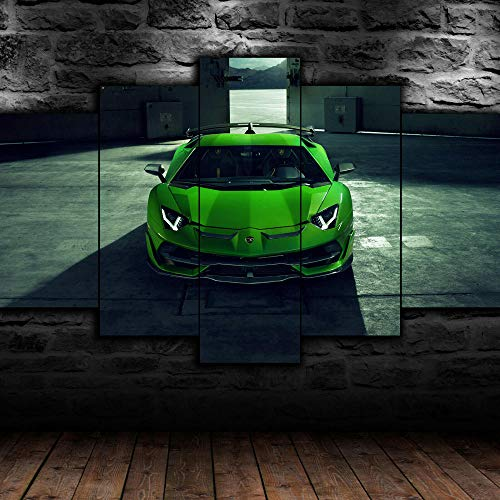 45Tdfc 5 Unidades Pictures Lambori Aventador Coche Verde Painting Home Decor Modern Wall Art Canvas HD Prints Frame Modular Poster