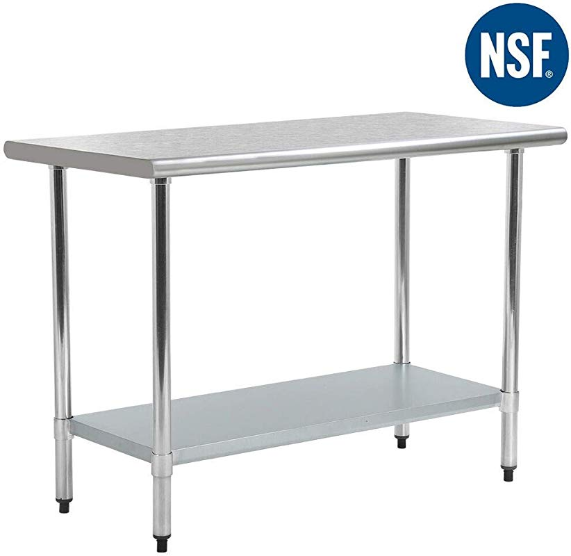 Kitchen Work Table Stainless Steel Metal Commercial NSF Scratch Resistent And Antirust Work Table With Adjustable Table Toot 24 X 48 Inches