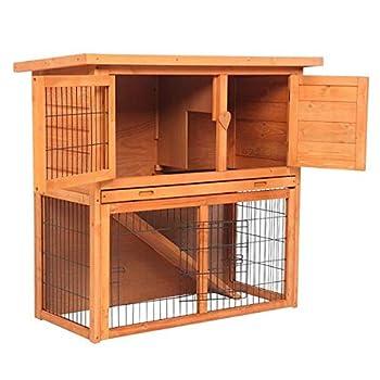 Latady 36  Waterproof 2-Tiers Wooden Rabbit Cage Pet Rabbit Hutch Chicken Coop Cage Pet House for Indoor & Outdoor