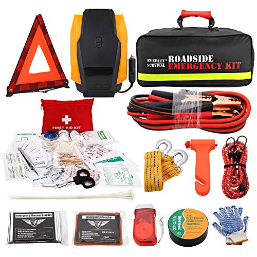 EVERLIT Roadside Emergency Kit, Car Emergency Kit Assistance Multipurpose Car Kit with Digital Air Compressor,12FT Jumper Cable, Tow Strap, Hand Cranked Flashlight, 108 Pieces First Aid Supplies