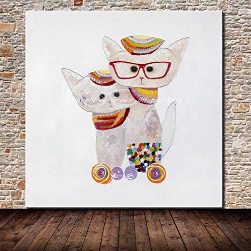 SHYHSCLBD olieverfschilderij op canvas handgeschilderd, handgeschilderd olieschilderij postmoderne decoratieve minimalistische veranda gang borst tas katje Auspicious dikke abstracte muur kunst leer 140×140cm