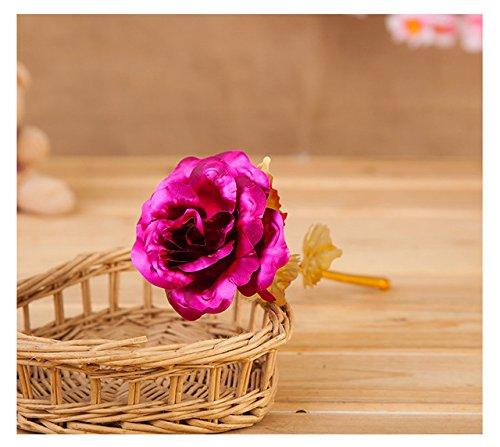 GANHUA 24k gouden roos met liefdeshouder geschenkdoos voor Valentijnsdag Nieuwjaar cadeau-bruiloft decoratie bloem roze