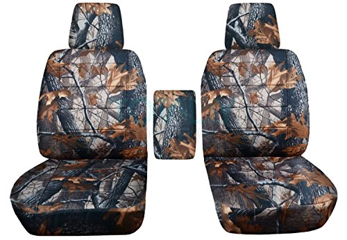 Totally Covers Compatible with 2004-2008 Ford F-150 Camo Truck Bucket Seat Covers with Center Armrest, w/wo Integrated Seat Belts: Gray Tree Camouflage (16 Prints) F-Series F150 Front