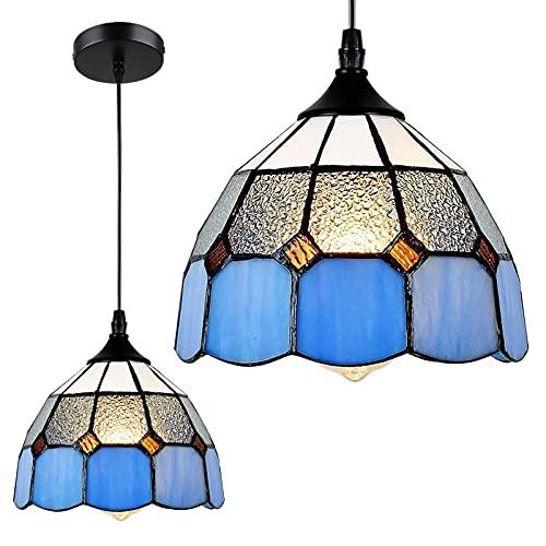 Rayofly Lámpara de techo Tiffany con pintura de cristal E27, lámpara de techo para casa de...